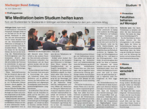 Der Marburger Bund berichtet über das Meditationstutorium